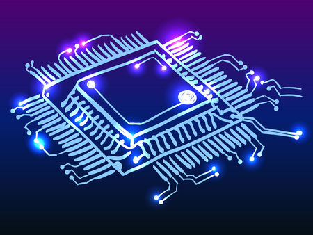 Glowing microchip processor cpu, circuit board doodle Illustration