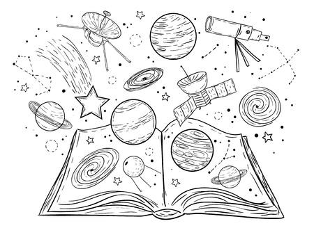 Open book with universe, planets, stars and galaxies, vector doodle