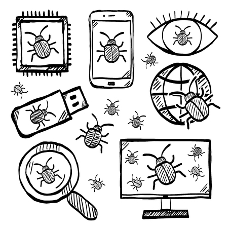 Malware and virus vector doodle, internet security icons Zdjęcie Seryjne - 114947285