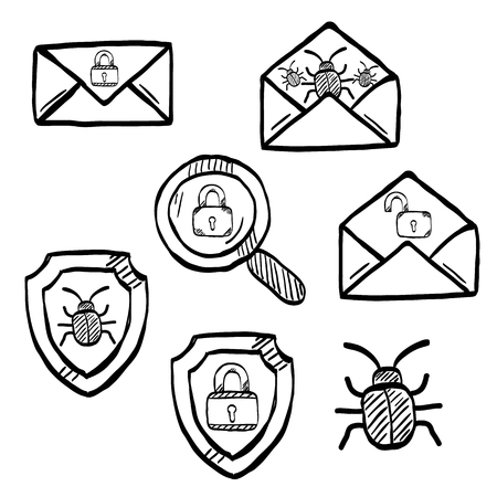 Malware and virus vector doodle, internet security icons Illustration