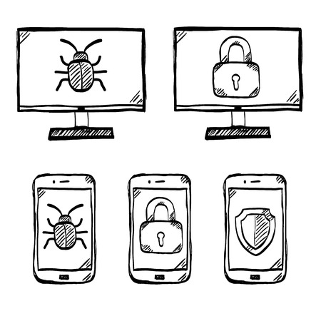 Malware and virus vector doodle, internet security icons Ilustracja