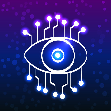 Glowing eye with circuit board, technology doodle style