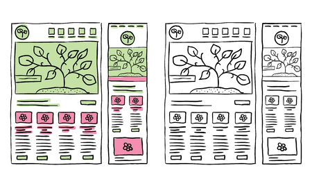 Hand drawn website layouts, responsive wireframe, doodle Ilustracja