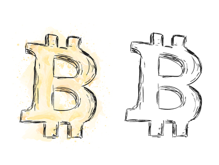 Illustration of bitcoin money, watercolor currency painting, doodle style