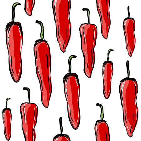 Red chilli peppers hot spice, seamless pattern