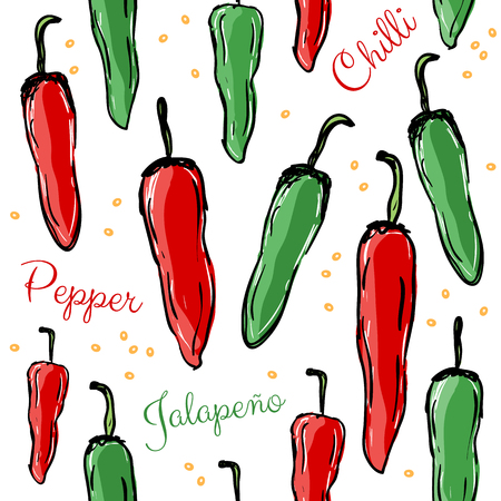 Chilli peppers red and green hot spice, seamless pattern