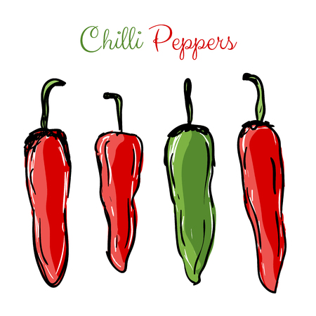 Chilli peppers red and green hot spice, hand drawn design
