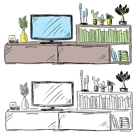 Living room television and furniture with decoration and books, doodle