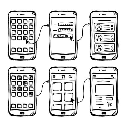 Modello wireframe dell'app mobile dell'interfaccia utente, stile doodle