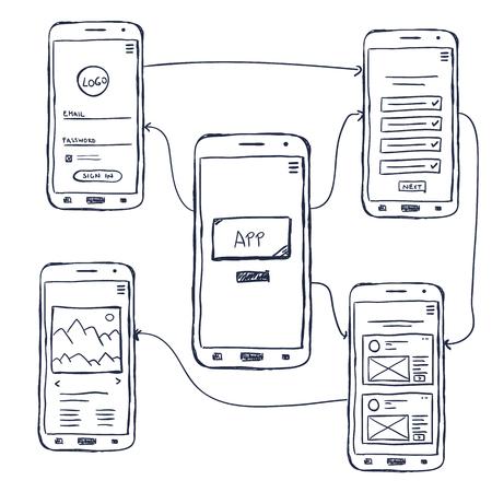 Modello wireframe dell'app mobile dell'interfaccia utente, stile doodle Vettoriali