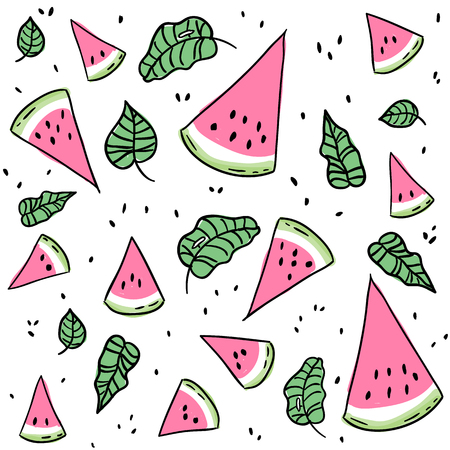 Fresh summer watermelon slices and leaves, seamless pattern Ilustracja