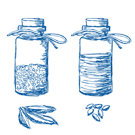 Illustration of hand drawn bottles with herbs and oil Çizim