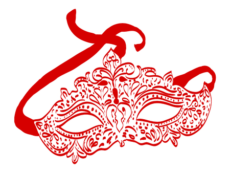 Illustration of hand drawn carnival mask, venetian style Ilustracja