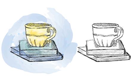 Illustration d'une tasse dessinée à la main sur des livres, aquarelle