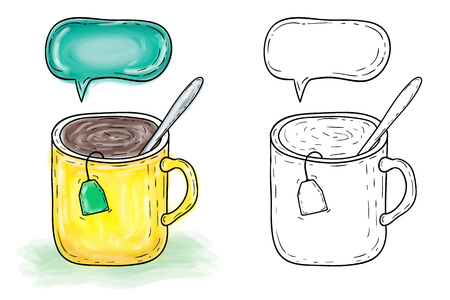 Illustration of hand drawn mug with tea, watercolor artwork