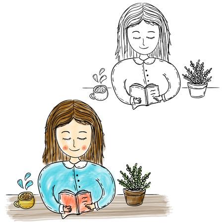 Illustration of hand drawn girl reading book, watercolor artwork