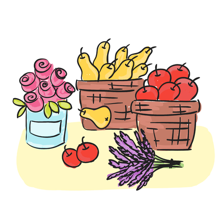 Illustration of Harvest - basket with fruits some herbs, doodle style Zdjęcie Seryjne - 124960636
