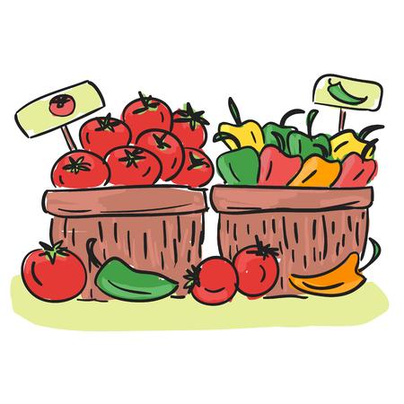 Illustration of Harvest - basket with vegetables, doodle style