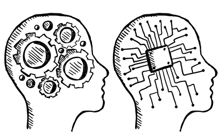 Illustration of hand drawn gear and chip in head, doodle style Illustration
