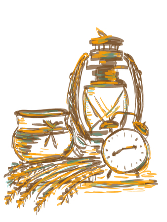 Illustration still life with an old lamp, alarm clock and grain Ilustracja
