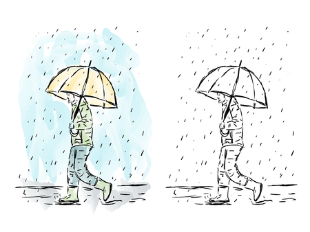 Illustration of hand drawn man with umbrella in rain, watercolor artwork