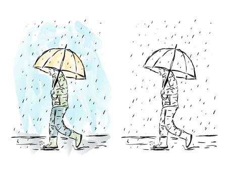 Illustration of hand drawn man with umbrella in rain, watercolor artwork
