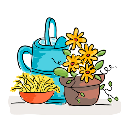 Illustration of summer still life with flowers and watering can, doodle style