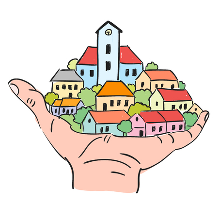 Illustration of small town with red roofs in palm, doodle style
