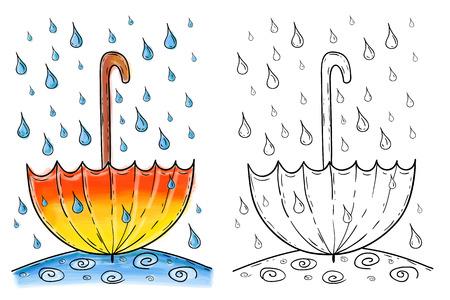 Illustration of hand drawn umbrella in rain, watercolor artwork