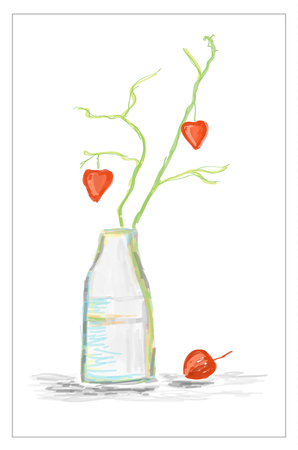 Illustration of hand drawn vase with branch with hearts, watercolor still life Ilustracja