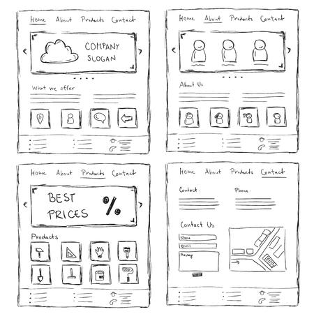 Diseños de sitios web dibujados a mano. diseño de estilo doodle Ilustración de vector