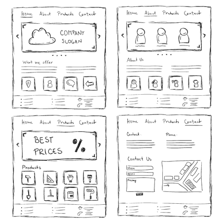 Hand drawn website layouts. doodle style design Vetores