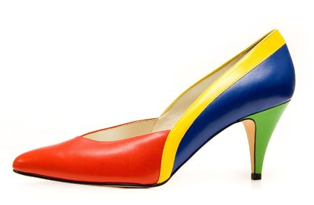Colorful woman shoe isolated on white