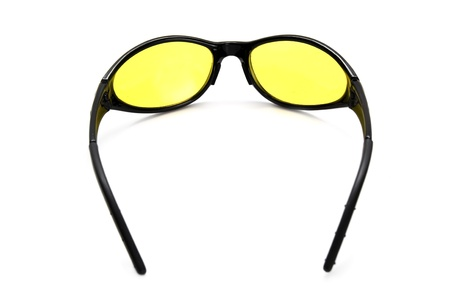 Yellow safety glasses for shooting and velotourism