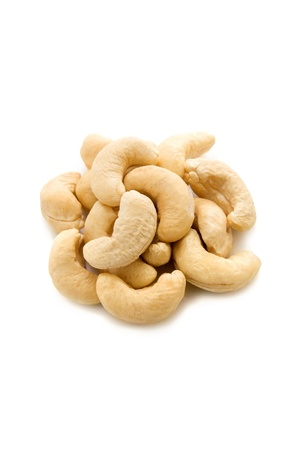 Some cashew nuts isolated on white