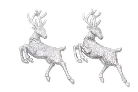 Christmas ornaments - two figures of glittering deer isolated on white