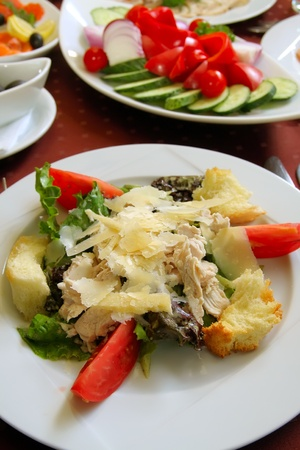 Fresh delicious appetizer. Cheese, meat with vegetables