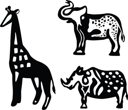 Decorative black and white silhouettes of African animals � giraffe, elephant and rhinoceros Illustration