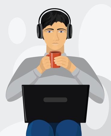 Tired boy working on laptop and drinking coffee Stock Vector - 9111088