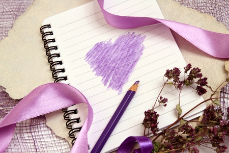 texturized: Valentine background with writing-pad, old texturized paper, herbs and shiny ribbons. Horizontal composition