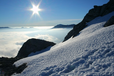 Winter landscape of sunny day in the mountains