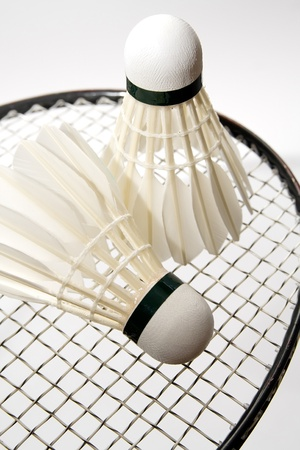 White badminton shuttlecocks on the racket photo