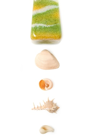 Natural ocean salt and  beautiful seashells isolated on white