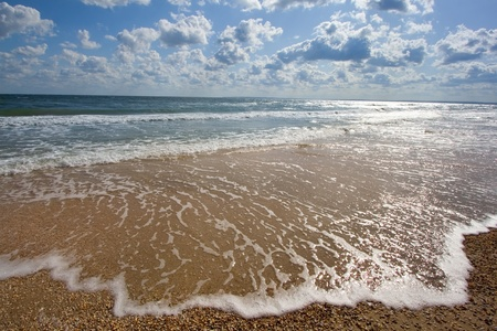 seashores: seashore with waves and clouds