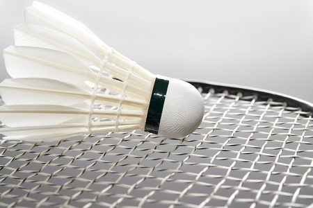 Close-up of badminton shuttlecock on the racket. Horizontal