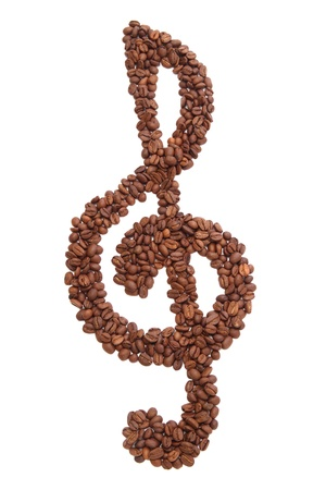 Treble clef formed of roasted coffee beans - isolated on white