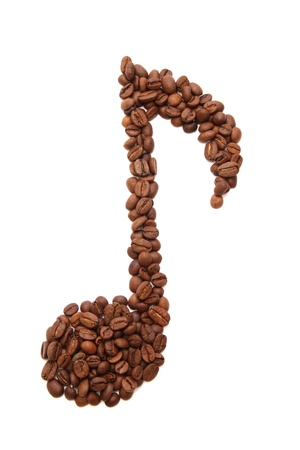 Music note, formed of coffee beans - isolated on white