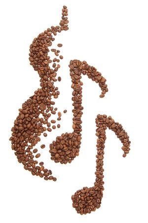 Music notes and guitar silhouette, formed of coffee beans - isolated on white