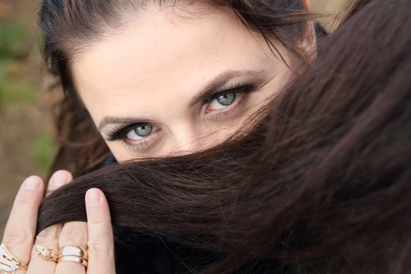 Expressing eyes of young woman with beautiful make-up