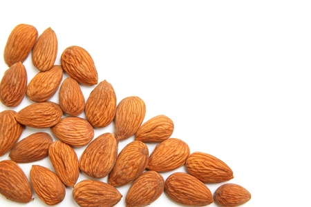 Almond kernels with empty space for notes. isolated